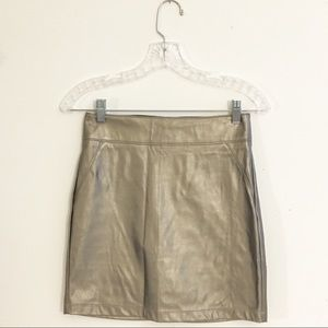 Forever 21 Silver Faux Leather Skirt